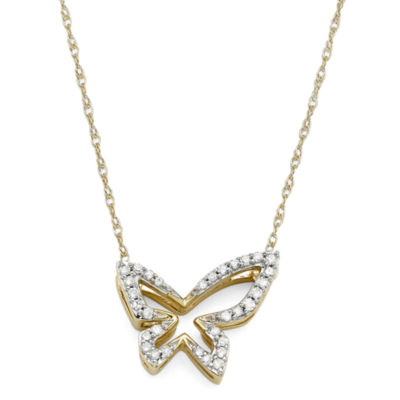 1/10 CT. T.W. Diamond 10K Yellow Gold Butterfly Pendant Necklace
