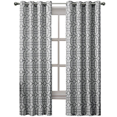 VCNY Tribeca Jacquard Grommet-Top Curtain Panel