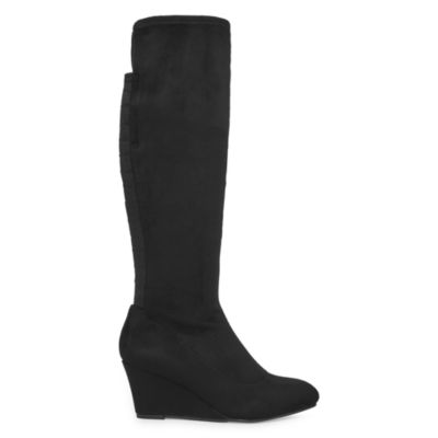 New York Transit Womens Come Over Riding Boots Wedge Heel Elastic