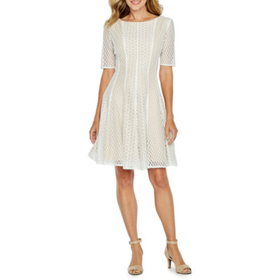 Danny & Nicole Elbow Sleeve Lace Fit & Flare Dress