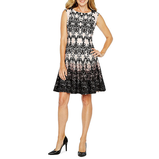 Danny & Nicole Sleeveless Scroll Fit & Flare Dress