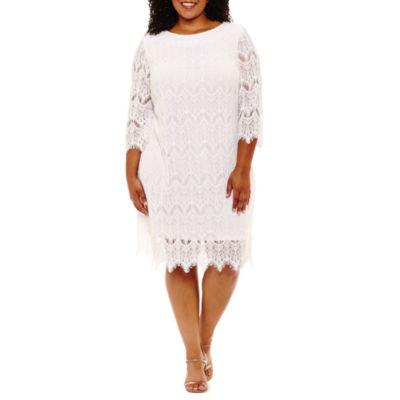 Ronni Nicole 3/4 Sleeve Sheath Dress-Plus
