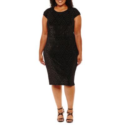 Scarlett Sleeveless Chevron Sheath Dress-Plus