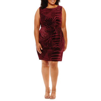 Scarlett Sleeveless Pattern Sheath Dress-Plus