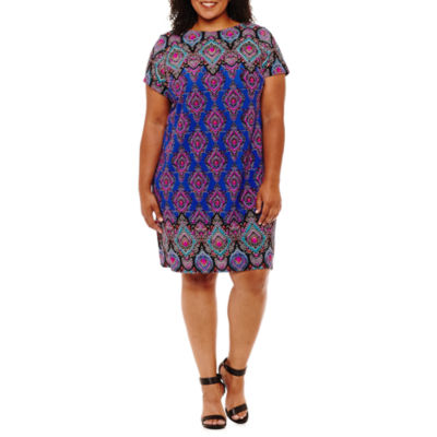 Maggy London Intl Short Sleeve Pattern Shift Dress-Plus