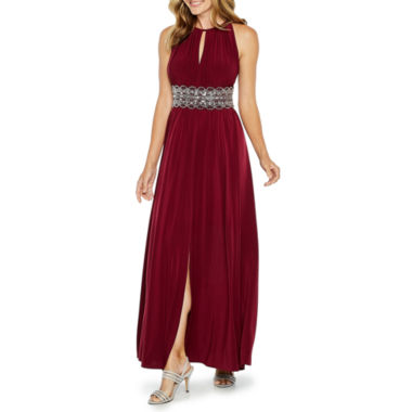 R & M Richards Sleeveless Embellished Empire Waist Dress