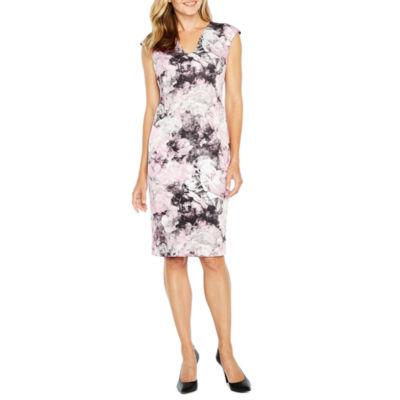 Liz Claiborne Cap Sleeve Floral Sheath Dress