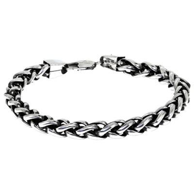 Sterling Silver 9 1/2 Inch Solid Wheat Chain Bracelet