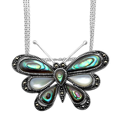 Womens Mother Of Pearl Sterling Silver Butterfly Pendant Necklace featuring Swarovski Marcasite