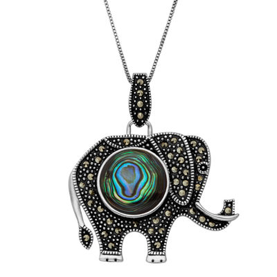 Womens Abalone Sterling Silver Elephant Pendant Necklace featuring Swarovski Marcasite