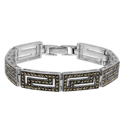 Womens Greek Key Bracelet featuring Swarovski Marcasite