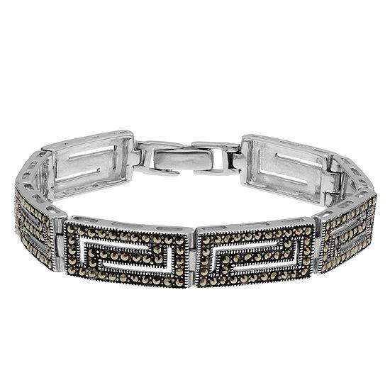 Womens Greek Key Bracelet featuring Swarovski Marcasite