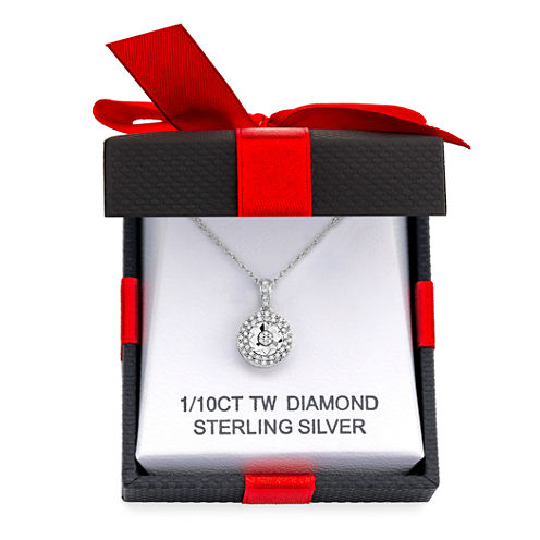 1/10 CT. T.W. Double Halo Diamond Pendant Necklace (Sterling Silver)