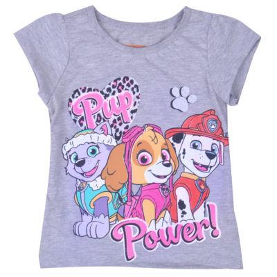 Nickelodeon Girls Crew Neck Short Sleeve Paw Patrol Graphic T-Shirt-Toddler