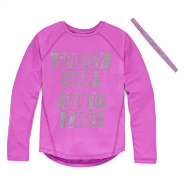 Xersion Performance Long Sleeve Top with Headband - Girls' Plus