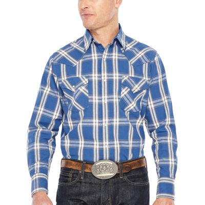 Ely Cattleman Long Sleeve Plaid Snap Western Shirt Tall