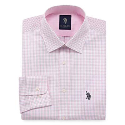 U.S. Polo Assn. Long Sleeve Yarn Dyed Woven Pattern Dress Shirt - Slim