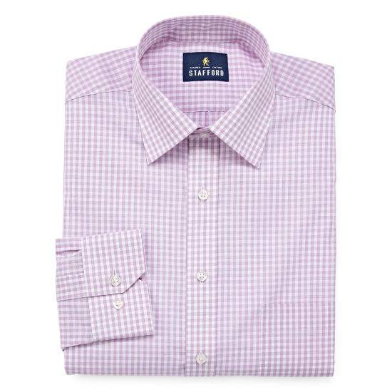 Stafford Travel Easy-Care Broadcloth Long Sleeve Broadcloth Gingham Dress Shirt