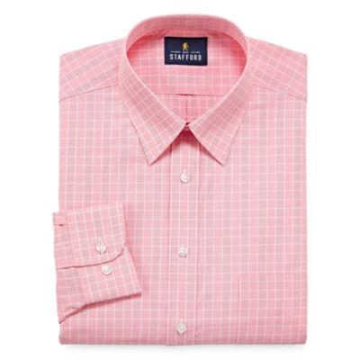 Stafford Travel Performance Super Shirt Long Sleeve Broadcloth Grid Dress Shirt
