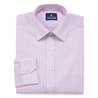 Stafford Travel Easy-Care Broadcloth - Big And Tall Long Sleeve Broadcloth Gingham Dress Shirt