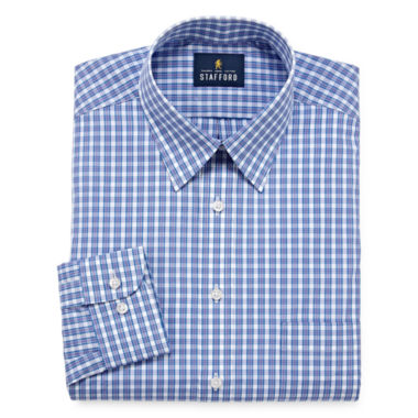 Stafford Travel Performance Super Shirt - Big & Tall Long Sleeve Broadcloth Checked Dress Shirt