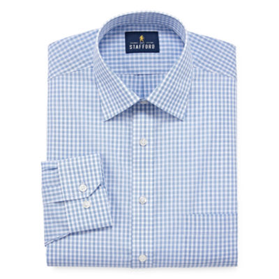 Stafford Travel Easy-Care Long Sleeve Broadcloth Gingham Dress Shirt - Big And Tall