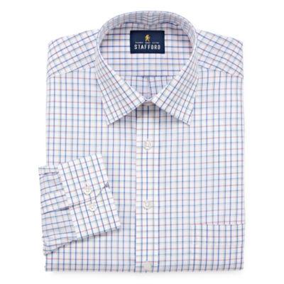 Stafford Travel Easy-Care Broadcloth - Big And Tall Long Sleeve Broadcloth Dress Shirt