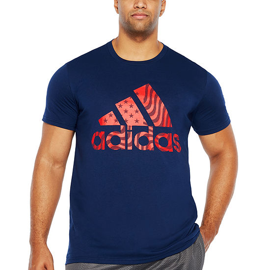 adidas Mens Crew Neck Short Sleeve T-Shirt-Big and Tall