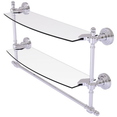 Allied Brass Retro Wave Collection 18 IN Two Tiered Glass Shelf With Integrated Towel Bar