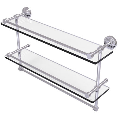 Allied Brass 22 IN Gallery Double Glass Shelf WithTowel Bar