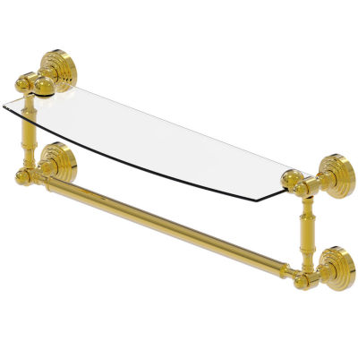 Allied Brass Waverly Place Collection 18 IN  GlassVanity Shelf  With Integrated Towel Bar