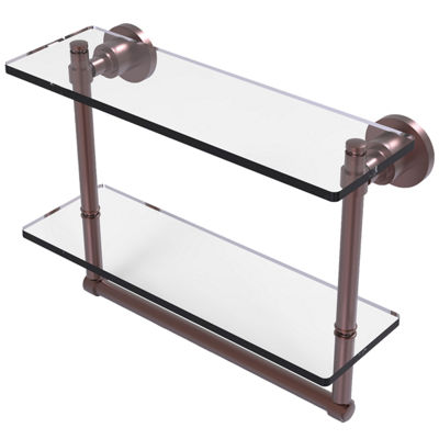 Allied Brass Washington Square Collection 16 IN Two Tiered Glass Shelf With Integrated Towel Bar