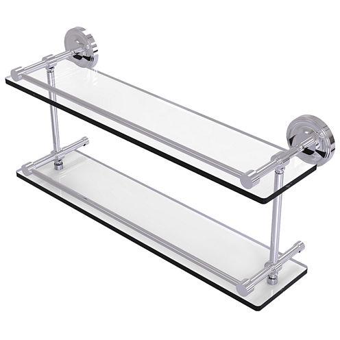 Allied Brass Prestige Regal 22 IN Double Glass Shelf With Gallery Rail