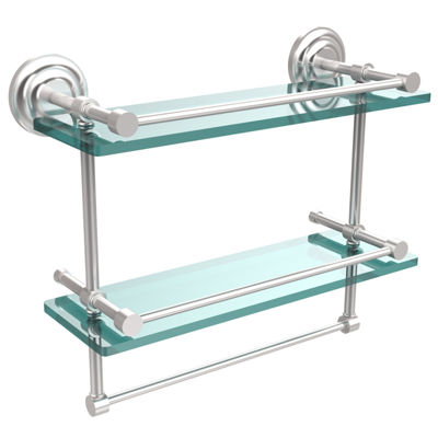 Allied Brass 16 IN Gallery Double Glass Shelf WithTowel Bar