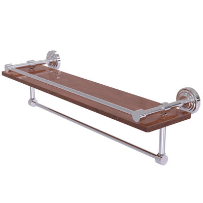 Allied Brass Waverly Place Collection 22 IN Ipe Ironwood Shelf With Gallery Rail And Towel Bar
