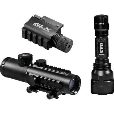 Barska 4X30 Ir Electro Sight W/ Led Flashlight Combo Pack; Glx Green Laser; 210 Lumen Light Ac11544-Co-G2