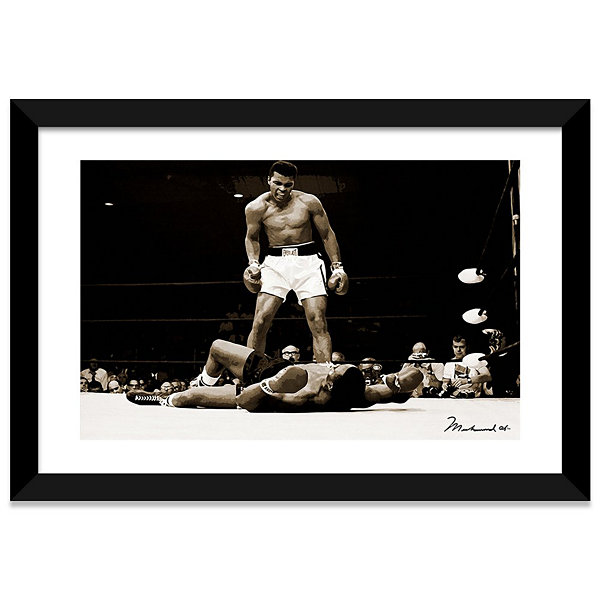 Muhammad Ali Vs. Sonny Liston; 1965 Black Framed Fine Art Paper Print