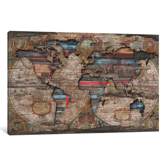 Distressed World Map by Diego Tirigall Canvas Print