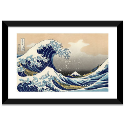 The Great Wave at Kanagawa; 1829 by Katsushika Hokusai Black Framed Fine Art Paper Print