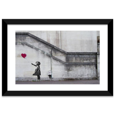 There Is Always Hope Balloon Girl by Banksy BlackFramed Fine Art Paper Print