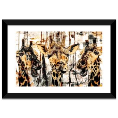 Giraffes by Riza Peker Black Framed Fine Art PaperPrint