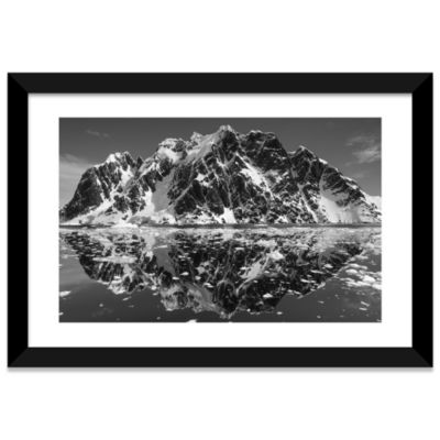 Mountain Reflections In B&W; Lemaire Channel; Antarctica by Paul Souders White Framed Fine Art PaperPrint