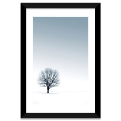 Tree in Winterscape by PhotoINC Studio White Framed Fine Art Paper Print