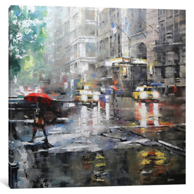 Manhattan Red Umbrella by Mark Lague Canvas Print