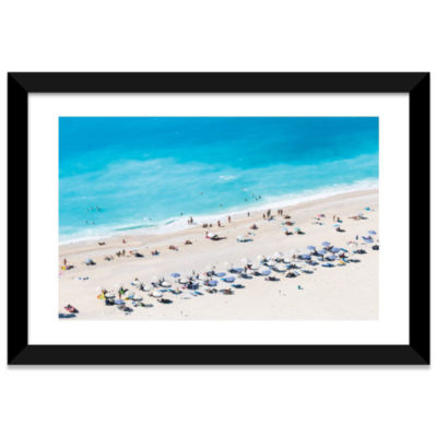 Aerial View Of Myrtos Beach VI; Cephalonia; IonianIslands; Greece by Matteo Colombo White Framed Fine Art Paper Print