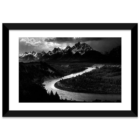 The Tetons - Snake River by Ansel Adams Black Framed Fine Art Paper Print