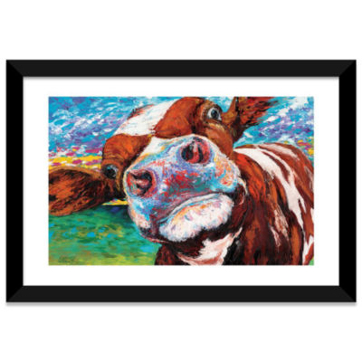 Curious Cow I by Carolee Vitaletti White Framed Fine Art Paper Print