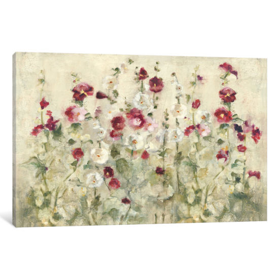 Hollyhocks Row Cool by Cheri Blum Canvas Print