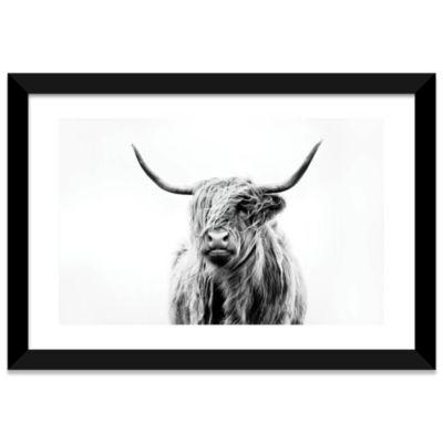 Portrait of a Highland Cow by Dorit Fuhg Black Framed Fine Art Paper Print