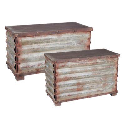 Household Essentials Corrugate Metal Storage Chest 2 PC Set